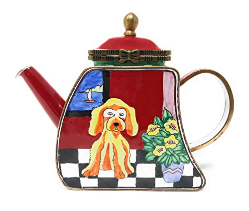 Kelvin Chen Puppy Dog Enameled Miniature Teapot with Hinged Lid, 4.25 Inches Long