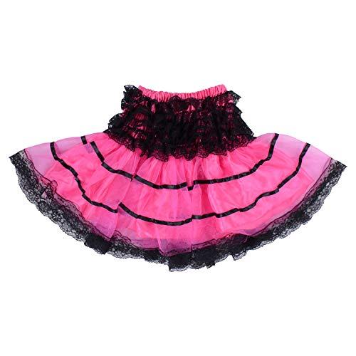 StarDY Kid Girl Lace Tulle Tutu Skirt Princess Latin Dance Party Pettiskirt Girls Halloween Ballet Dressing Up (Pink, L)