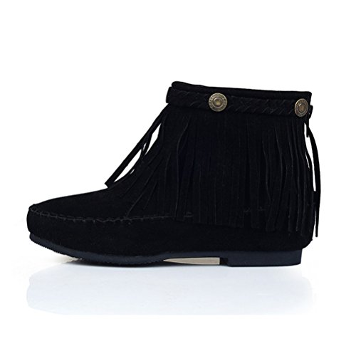 Agodor Womens Flat Nubuck Leather Fringe Ankle Boots With Zip Classic Shoes Black OulQi64Un