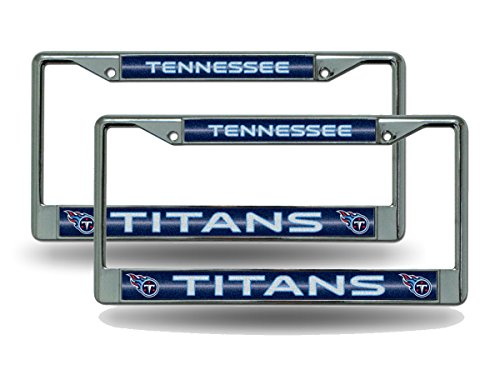 (Rico Tennessee Titans Chrome Metal (2) Bling License Plate Frame Set)