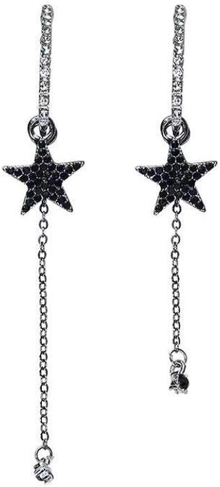 925 Pendientes De Plata Pendientes De Estrella De Diamantes Negros Feminidad Pendientes Largos Con Flecos Largos
