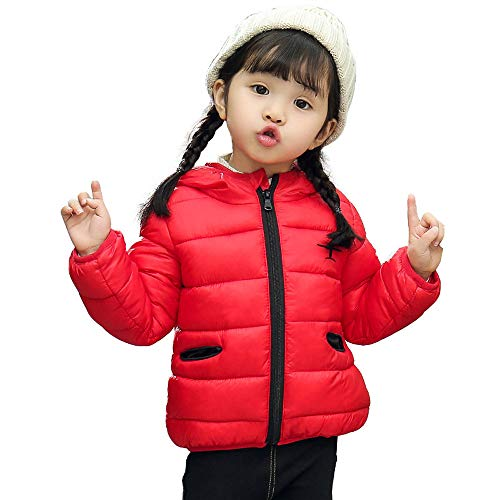 Fheaven Kids Baby Girl Boy Winter Hoodie Coat Cartoon Airplane Jacket Hooded Thick Padded Warm Outerwear Clothes (3-4 Years, Red)]()