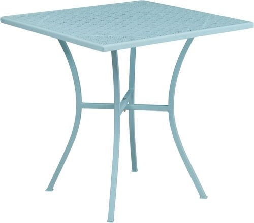 28'' Square Sky Blue Finish Indoor-Outdoor Steel Restaurant Table - Patio Table
