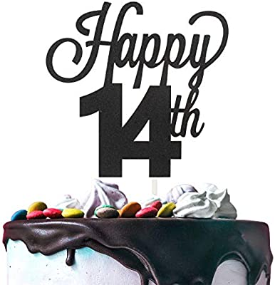 14th Happy Birthday Cake Topper Premium Double Sided Black Glitter Cardstock Paper Party Decoration