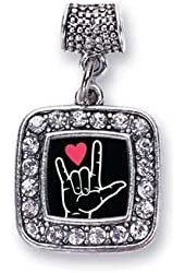 I Love You Sign Language Interpreter Charm Fits Pandora Bracelets & Compatible with Most Major Brands such as Chamilia, Murano, Troll, Biagi and other European Bracelets