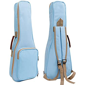 HOT SEAL 10MM Leather Handles Thick Durable Colorful Ukulele Case Bag with Storage (21in, Light blue)