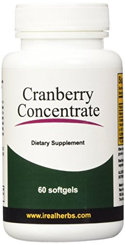 Real Herbs Cranberry Concentrate - Derived from 12600mg of Cranberries with 50:1 Extract Strength - Easier to Swallow than Capsules or Pills - Cranberry Supplement for UTI Support  - 60 Softgels