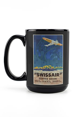 Swissair - Services Aeriens Vintage Poster (artist: Moos) Switzerland c. 1931 (15oz Black Ceramic Mug - Dishwasher and Microwave Safe)