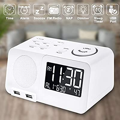 Alarm Clock Radio Digital FM Led Display Radio with USB Port Dual Alarms Dimmer Snooze Sleep Timer for Bedroom-White