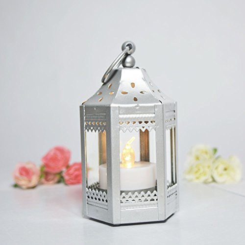Paperlanternstore.com 5.5 Inch Pagoda Tealight Hurricane Candle Lantern - Silver