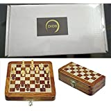 "Classic Handmade Magnetic 7"" Inch Chess Game with Storage for Pieces Within The Wooden Board - Standard Staunton Themed Ultimate Folding Chess Set with Fine Wood"