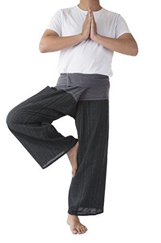 ae24fe21fd3 Memitr Thai Fisherman Pants Men s Yoga Trousers Gray Charcoal 2 Tone Pant