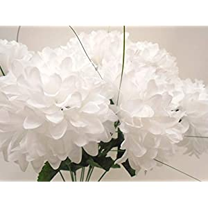 "Chrysanthemum Mum Ball Bush 10 Artificial Silk Flowers 19"" Bouquet 2302 (White) 46"