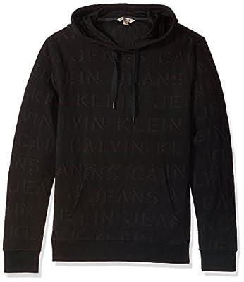 Calvin Klein Jeans Men's Extreme Black Logo Jacquard Hoodie Sweatshirt