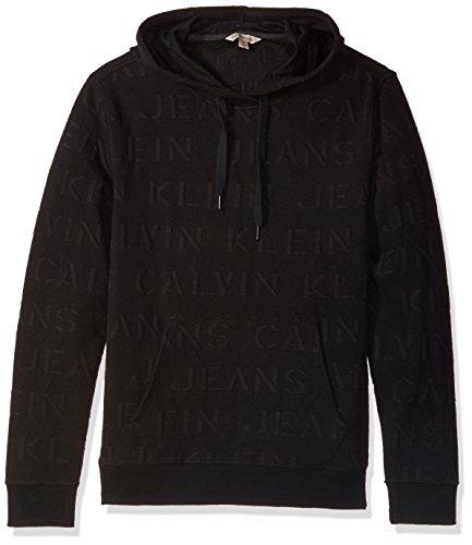 Calvin Klein Jeans Men's Extreme Black Logo Jacquard Hoodie Sweatshirt,