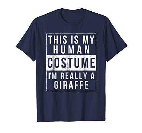 Mens Giraffe Halloween Costume Shirt Funny Easy for Kids Adults XL Navy -