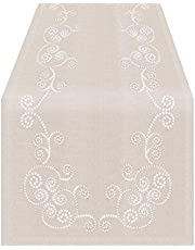 SARO LIFESTYLE Embroidered Swirl Design Linen Blend Tablecloth