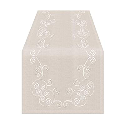 """Swirl Embroidered Table Runner - 16""""x72"""" Oblong, Natural - 80% polyester - 20% linen, delicate cool wash, hang dry, medium iron reverse side This playful and durable table runner will enhance any dinner setting Swirl embroidered design is perfect for both casual and elegant dining - table-runners, kitchen-dining-room-table-linens, kitchen-dining-room - 4155Y7bIK9L. SS400  -"""