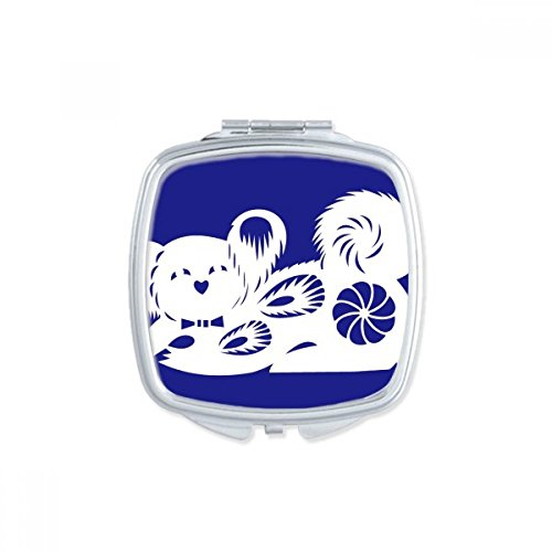 DIYthinker Year Of Dog Animal China Zodiac Pattern Square Compact Makeup Mirror Portable Cute Hand Pocket Mirrors Gift by DIYthinker
