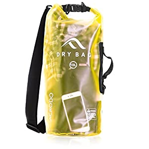 New Acrodo Waterproof Dry Bag Transparent Bright Yellow 10 Liter Floating for Boating, Camping, and Kayaking With Shoulder Strap - Keeps Clothing & Electronics Protected