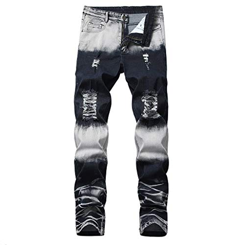 Sunhusing Men Folded Striped Cozy Leisure Zipper Pockets Trousers Slim Fit Ripped Holes Denim Pants Black
