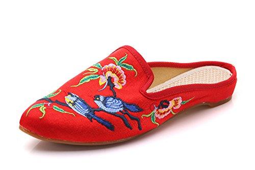 KHSKX-Pintura En Tinta Embroidered Shoes Retro Flores Bordados Satinado Zapatillas Señaló gules