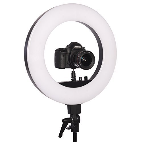 Stellar 18'' LED Diva II Ring Light (Black) w/Wireless Bluetooth Camera Shutter Remote Control for IOS & Android Phones and Universal Smartphone Tripod Mount & Adapter For Most Smartphones by Calumet (Image #1)