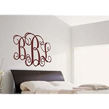 Custom Curly Monogram Fancy Vinyl Wall Sticker Decal Decor Personalized