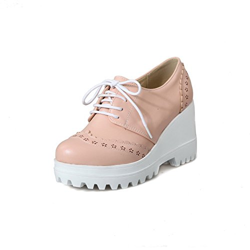 Pumps WeenFashion PU Lace Toe Women's Shoes High Round up Solid Closed Pink Heels XqxXwrv