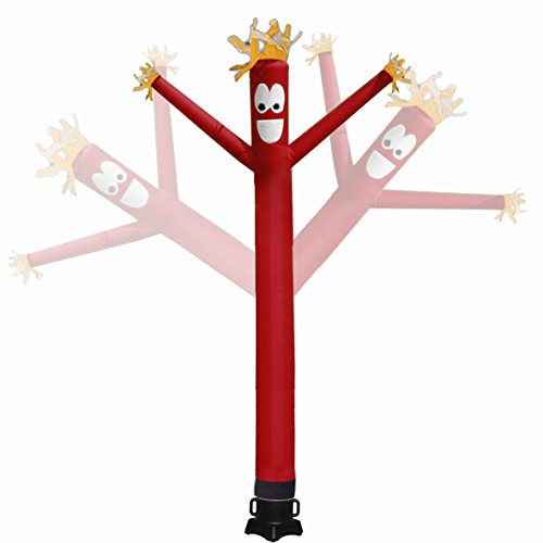 Mkevi 20ft Sky Air Puppet Dancer Inflatable Arm Flailing Tube Man Wacky Wavy Wind Flying Dancing Man for DIY Stand Out Advertising, No 18in Blower (Red)