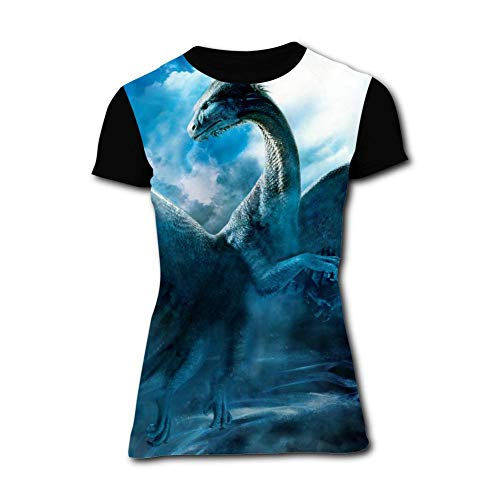 Women's T-Shirt White Dragon Graphic 3D Printed Short Sleeve T Shirt Tops Fashion Tees