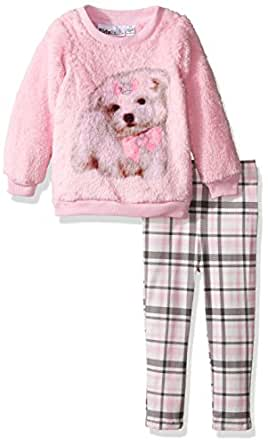 Kids Headquarters Little Girls Faux Fur Tunic with Leggings Set, Pink, 4