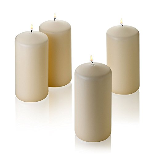 Light In The Dark Vanilla Pillar Candles - Set of 4 Unscented Candles - 6 inch Tall, 3 inch Thick - 36 Hour Clean Burn Time