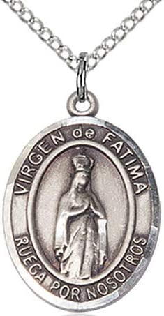 18 Rhodium Plated Clasp Chain 3//4 tall Virgen de Fatima Spanish Medal in Fine Pewter