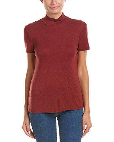 Splendid Women's Slub 1x1 Fitted Turtleneck Tee Maroon T-Shirt