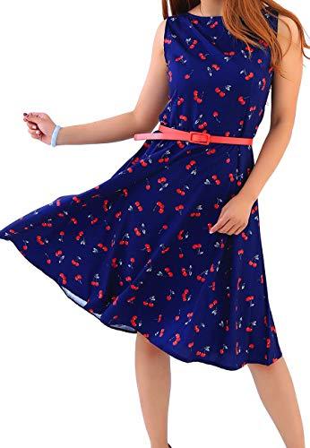 OMZIN Damen Kleid 50er Hepburn Stil Cocktailkleid A-Linie Kleid Sommerkleid Swing Kleid Blumenkleider XS-4XL