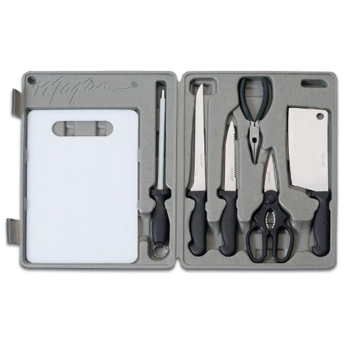 Angler 5 Pc Fish Cleaning Kit with Cutting Board/ Stainless Steel Fish Knives/manufacturer Warranty (Fillet Maxam Knife)