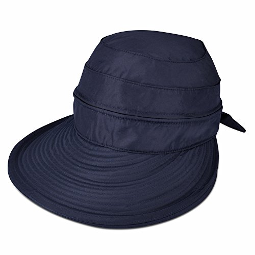 Vbiger Butterfly Knot Sun Wide Brim Visor Floppy Fold Beach Hat (Navy Blue)