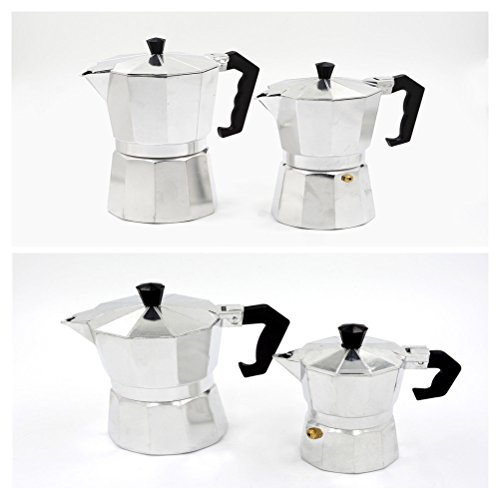 UhoMEy Espresso Stovetop Coffeemakers, Aluminum Moka Coffee Pot, 1-Cup, 3-Cup, 6-Cup, 9-Cup