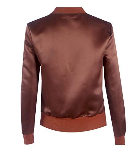 Lunga Giacche Personalità Tinta Moda Donna Bomber Tops Manica E Blouse Marrone Outerwear Corto Jacket Autunno Primavera Unita Coat Cappotto Giacca wFIfqnX0n