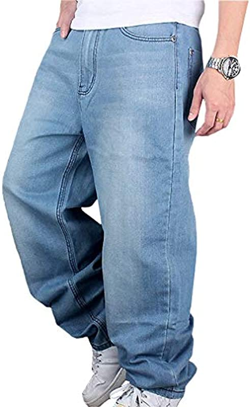 Męskie spodnie jeansowe Hip Hop Hipster Style Baggy Jeans Rap Denim Urban Skate Jeans Straight Leg Loose Fit dla nastolatkÓw i chłopcÓw: Odzież
