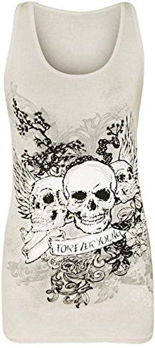 New Womens Danger Skull Sequin Fitted Vest Top 8-14 ( White , UK 8-10 / EU 36-38 )