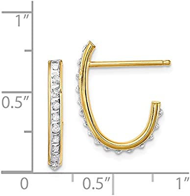 925 Sterling Silver Gold-tone Polished w//Diamond Accent J Hoop Post Earrings by Diamond Mystique