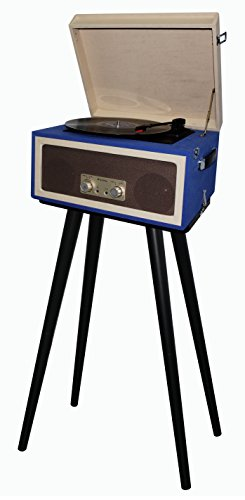 TechPlay CTA99 Blue 3speed portable turntable with matching stand. AUX in and Headphone jack and built-in speakers.