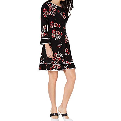Alfani Womens Floral-Print Fit & Flare Dress 4 Black Felicity Grid