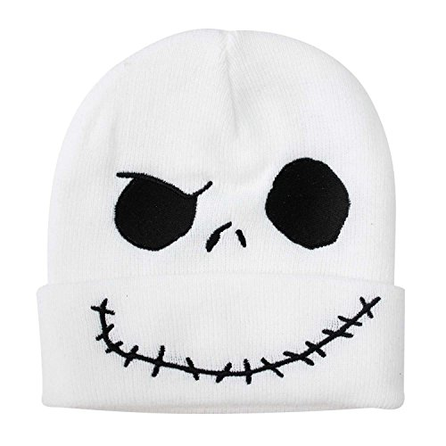 Nightmare Before Christmas Men's Jack Skellington Cuff Knit Beanie, White, One (Nightmare Before Christmas Gloves)