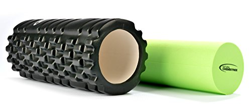 2 In 1 Foam Roller for Muscles. Trigger Point Rollers Perfect for Deep Tissue Massage of Painful Tight Muscles and Myofascial Release. Ideal for Crossfit Athlete. BONUS Carry Case Included