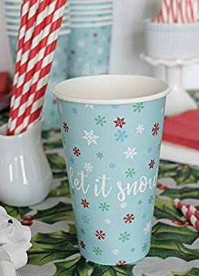 Snowflake Compostable Paper Cups, 16 oz, Let It Snow - Christmas Holiday Disposable Cups