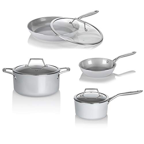 TECHEF CT7P CeraTerra Collection Ceramic Nonstick Cookware Set, Made in Korea, 7-Piece , Grey Silver