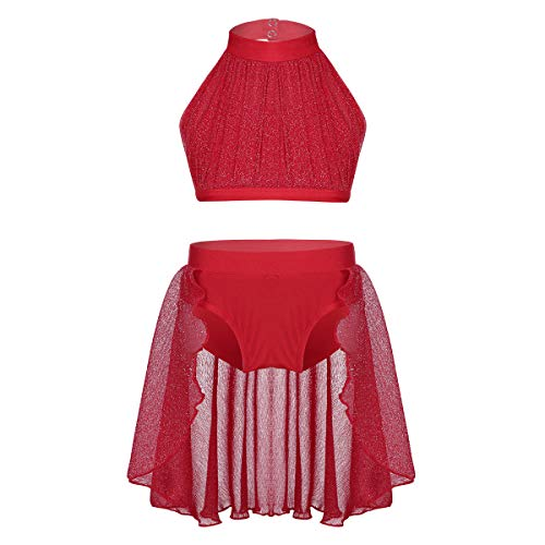 Lyrical Dance Costumes Two Piece - dPois Kids Girls' Contemporary Lyrical Dance